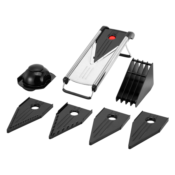 VonShef V Blade Slicer with 5 Blades, Blade Storage and Safety Food Holder No Colour