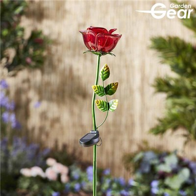 Garden Gear Hand-Painted Glass Solar Lights - Rose