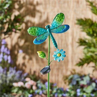 Solar Glass Dragonfly Stake Light