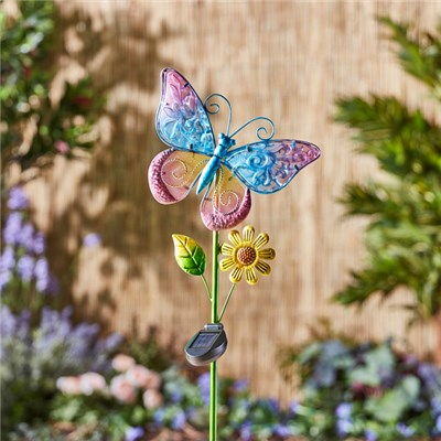 Solar Glass Butterfly Stake Light