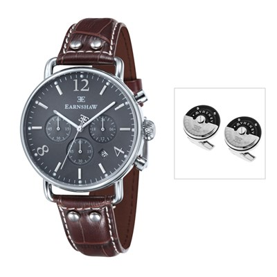 Thomas Earnshaw Gent's Investigator Chronograph with Genuine Leather Strap and Cufflinks