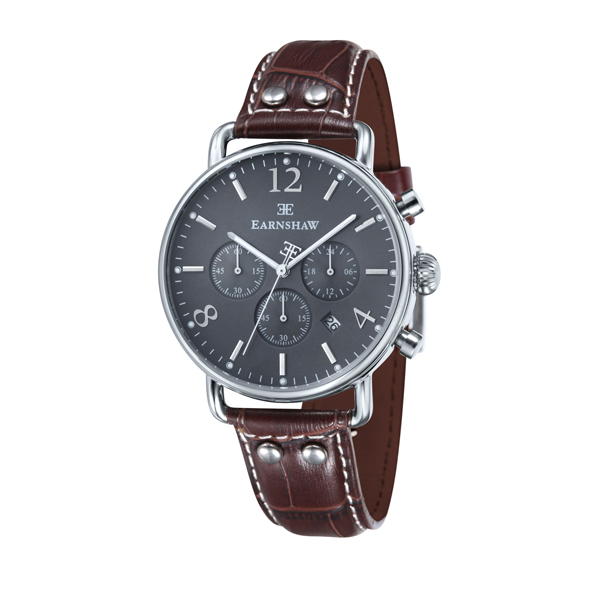 Thomas Earnshaw Gent's Investigator Chronograph with Genuine Leather Strap Grey