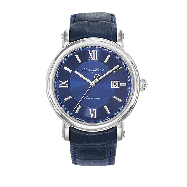 Mathey-Tissot Gent's Renaissance Automatic Watch with Genuine Leather Strap Blue