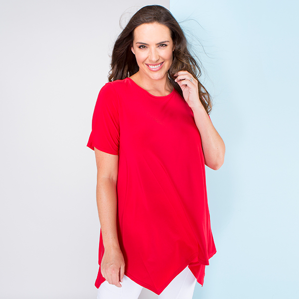 Nicole Plain Shark Bite Hem Top Red