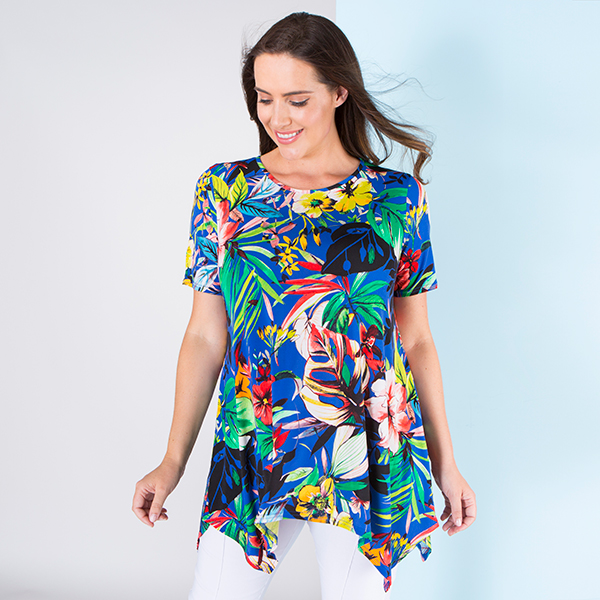 Nicole Print Shark Bite Hem Top Cobalt Tropical