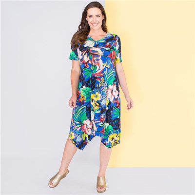 Nicole Print Sharkbite Hem Dress