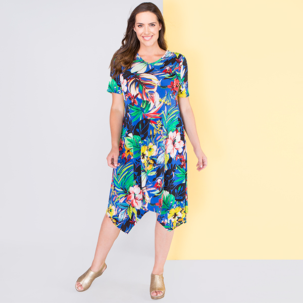 Nicole Print Sharkbite Hem Dress Cobalt Tropical