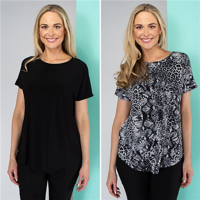 Kasara Print and Plain Tops (2 Pack)