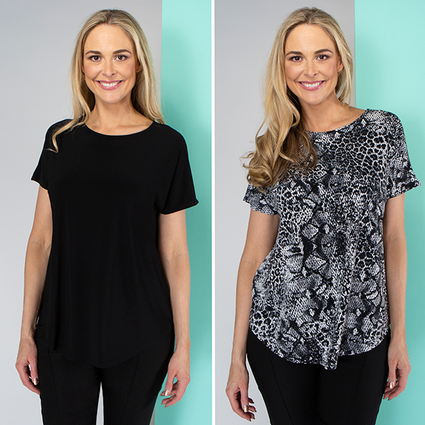 Kasara Print and Plain Tops (2 Pack) Animal/Black