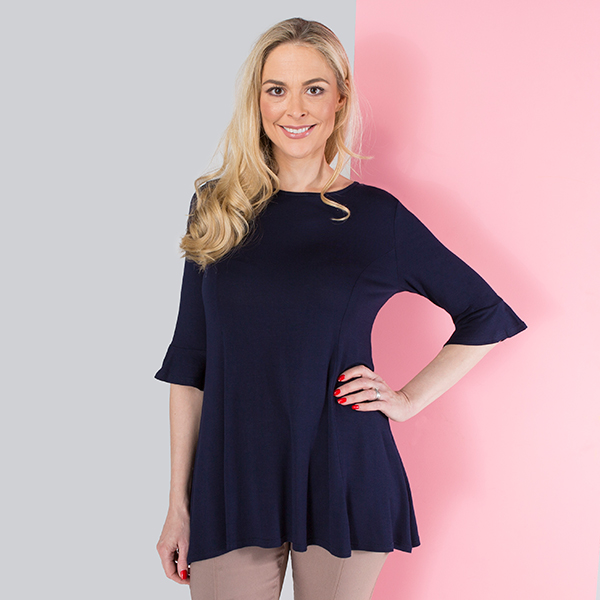 Emelia Viscose Fit and Flare Frill Sleeve Top Navy