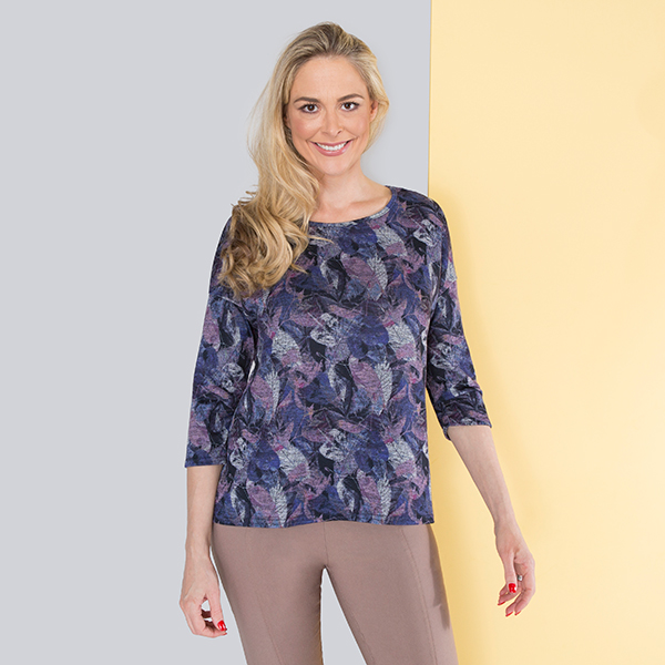 Emelia Print Top Feather