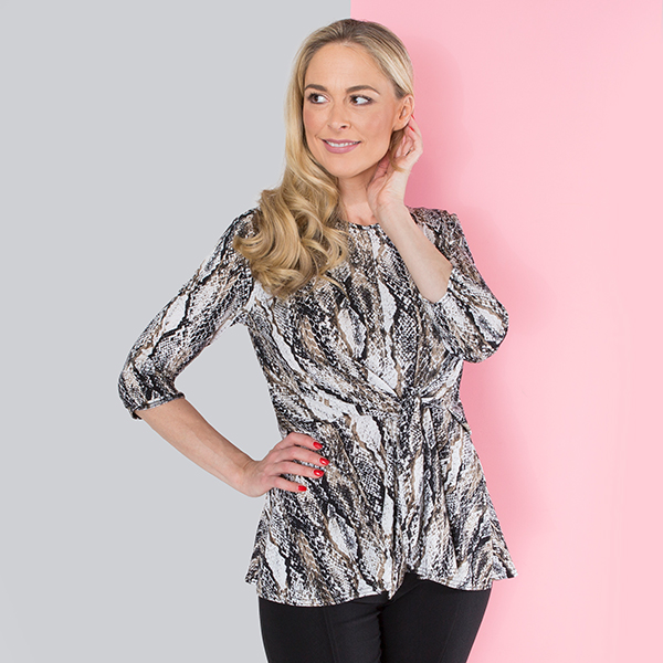Nicole 3/4 Sleeve Print Tie Side Top Snakeskin
