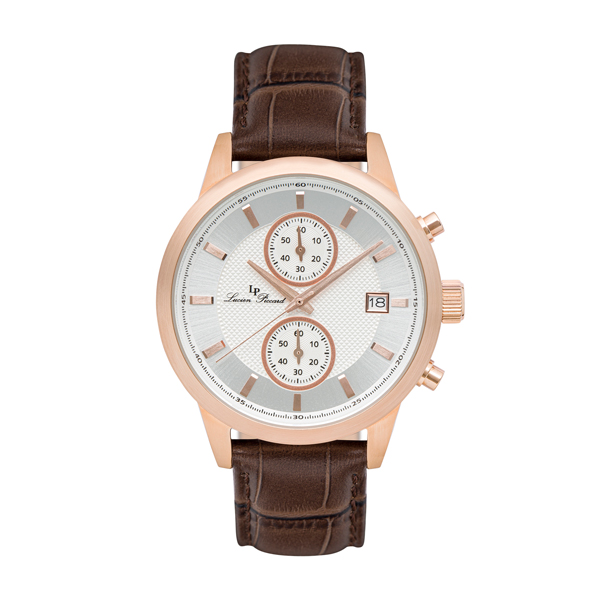 Lucien Piccard Gent's Clark IP Watch with Genuine Leather Strap Rose Gold
