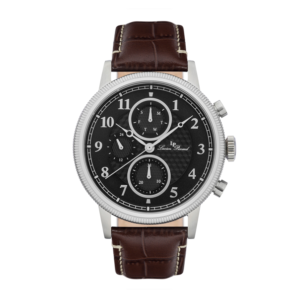 Lucien Piccard Gent's Holden Watch with Genuine Leather Strap Black