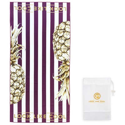 LOOK LIKE COOL Gold Pineapple Compact, Sand Free, Fast Drying Beach & Travel Towel (160cm x 80cm)