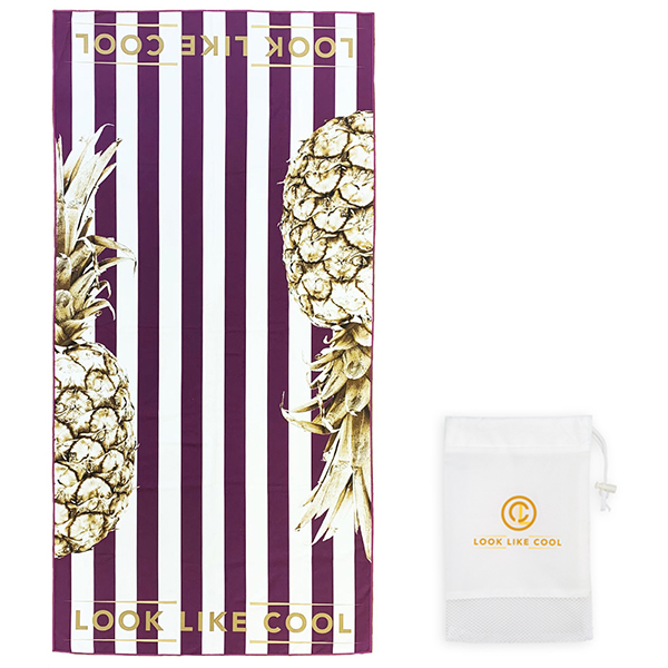 LOOK LIKE COOL Gold Pineapple Sand Free Beach & Travel Towel (160cm x 80cm) All About Aubergine