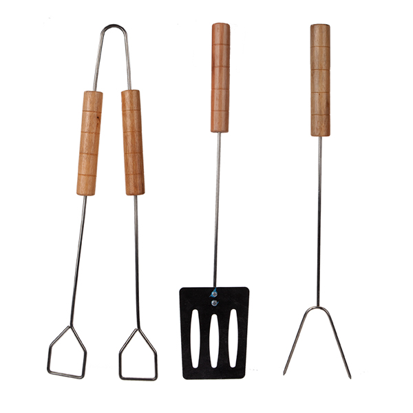 Chrome BBQ Tool Set 36cm with Wooden Handles (3 Pack) No Colour