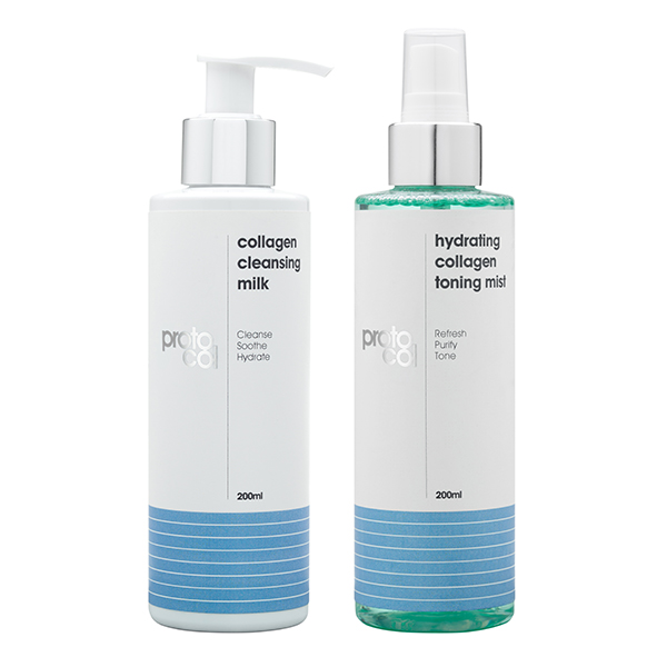 Proto-col Collagen Cleansing Milk 200ml and Toning Mist 200ml No Colour