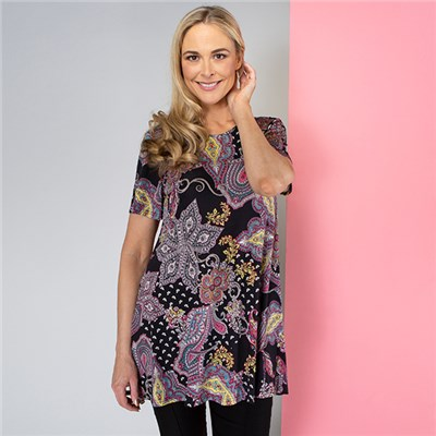 Nouvelle Short Sleeve Print Top