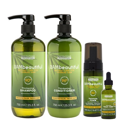 BAMbeautiful Hair Thickening 4 Piece Collection (Tonic 50ml, Foam 150ml, Shampoo 750ml, Conditioner 750ml)