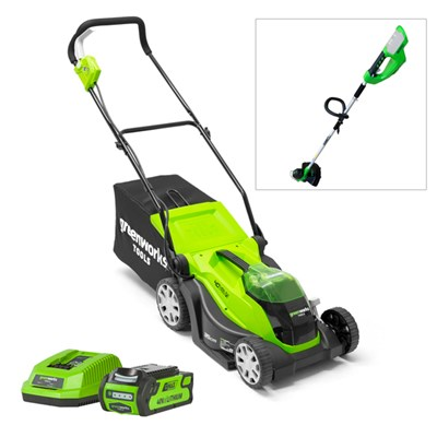 Greenworks 40v Cordless Lawnmower 35cm with 1 x 2Ah Battery & Charger PLUS FREE LT40 Line Trimmer (Bare Tool)