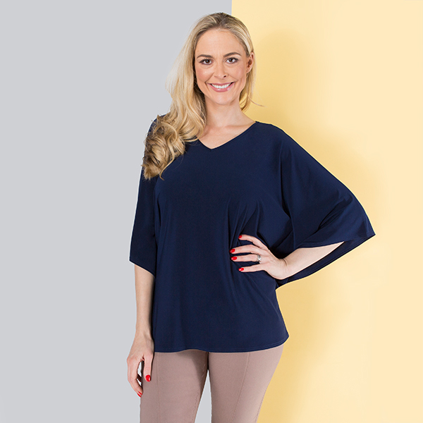 Kasara Soft Batwing Top Navy