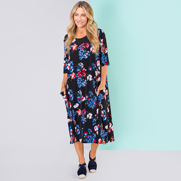 Nicole Print Pocket Dress Black Floral