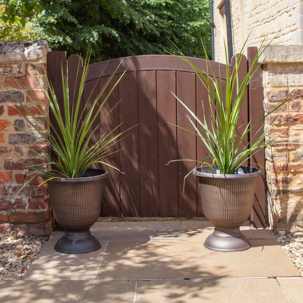 Vertical Stripe Urns and 90cm Cordylines (Pair) No Colour