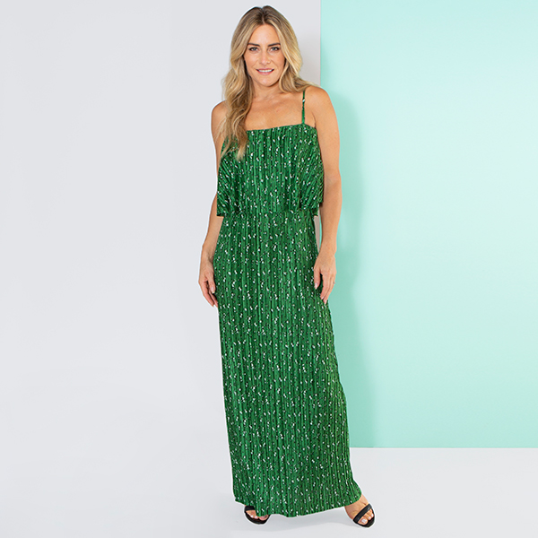 Nouvelle Pleated Frill Neck Ditsy Maxi Dress Jade Green