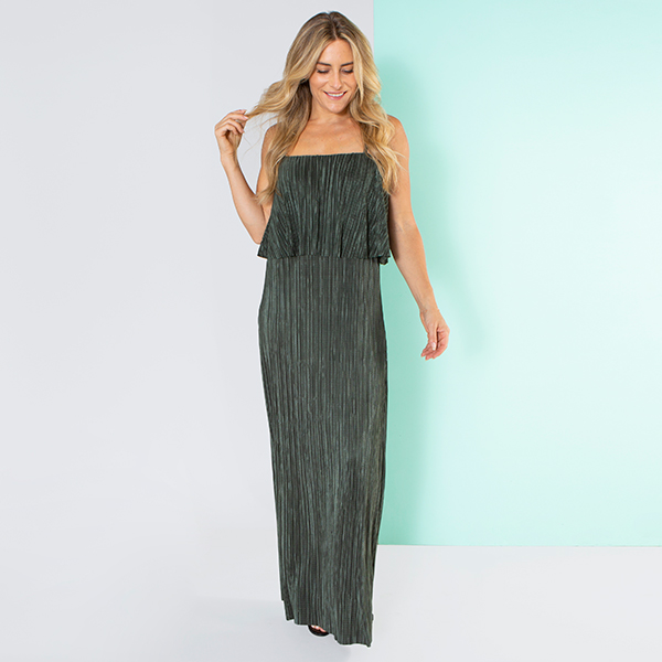 Nouvelle Pleated Frill Neck Plain Maxi Dress Khaki