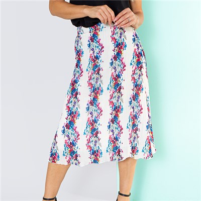 Nouvelle Pleated Printed Chiffon Midi Skirt