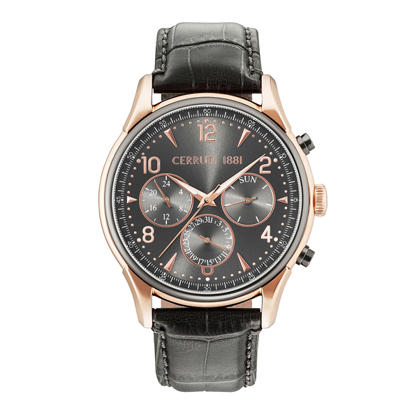 Cerruti 1881 Gent's Bellagio Day Date Watch with Genuine Leather Strap Grey