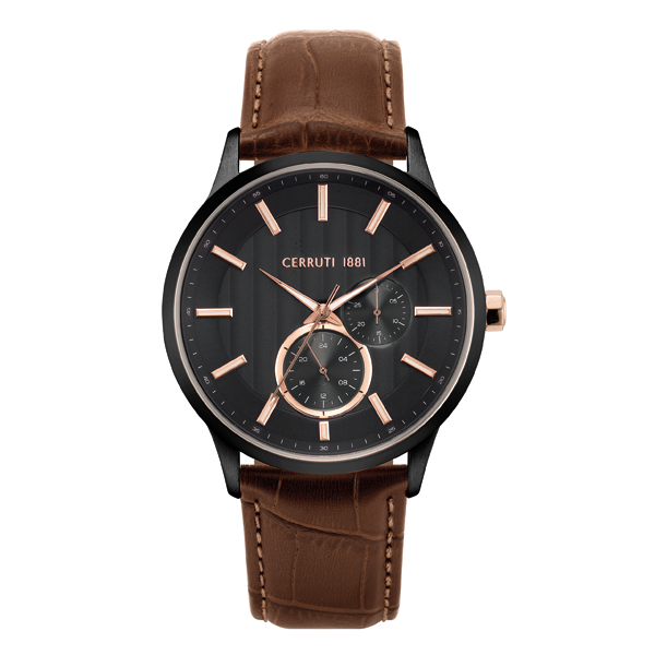 Cerruti 1881 Gent's Carzano Watch with Genuine Leather Strap Black/Brown