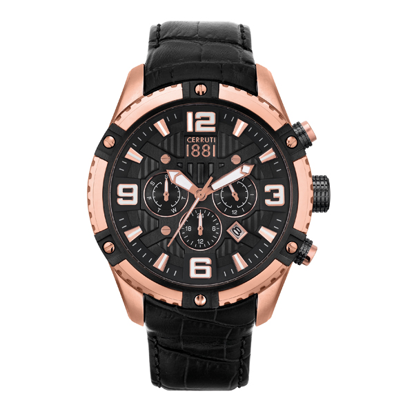 Cerruti 1881 Gent's Laponte Watch with Genuine Leather Strap Black/Rose Gold
