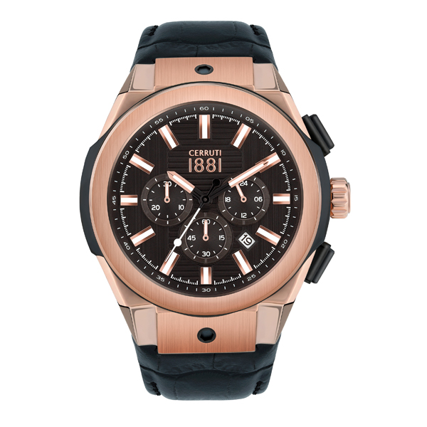 Cerruti 1881 Gent's Ruscello Chronograph Watch with Silicone Strap Black/Rose Gold