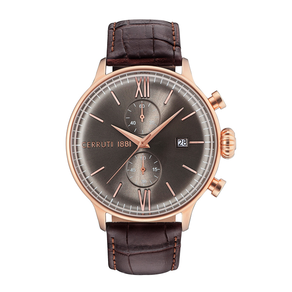 Cerruti 1881 Gent's Dervio Watch with Genuine Leather Strap Grey