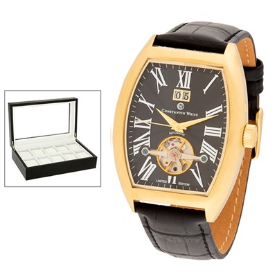 Constantin Weisz Gent's Ltd Edt Automatic Open Watch with Genuine Leather Strap and 10 Slot Box