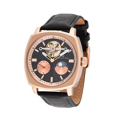 Constantin Weisz Gent's Automatic Open-Heart Day & Night Watch with Genuine Leather Strap