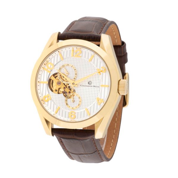 Constantin Weisz Gent's Automatic Open-Heart Multi-Function Watch with Genuine Leather Strap Gold