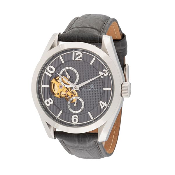 Constantin Weisz Gent's Automatic Open-Heart Multi-Function Watch with Genuine Leather Strap Silver