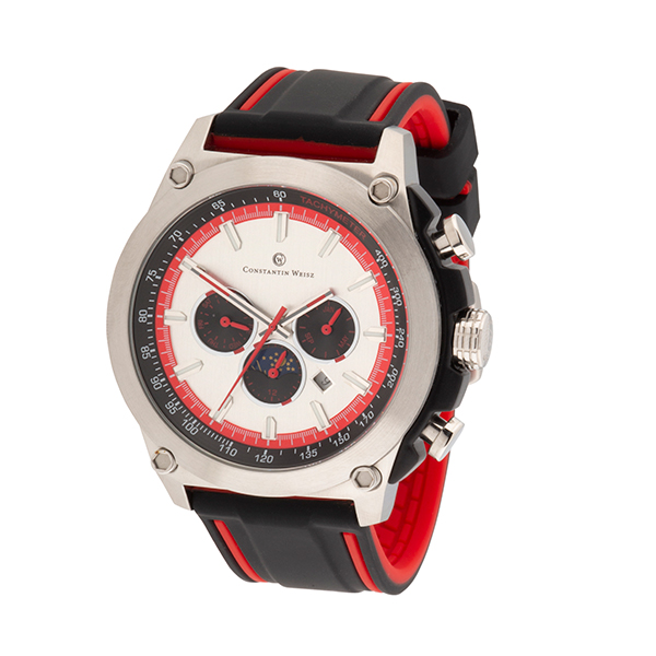 Constantin Weisz Gent's Automatic Day and Night Indicator Watch with Silicone Strap Silver/Red
