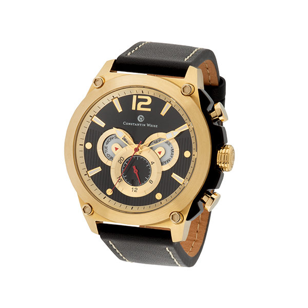 Constantin Weisz Gent's Automatic Multi-Function Watch with Genuine Leather Strap Black/Gold