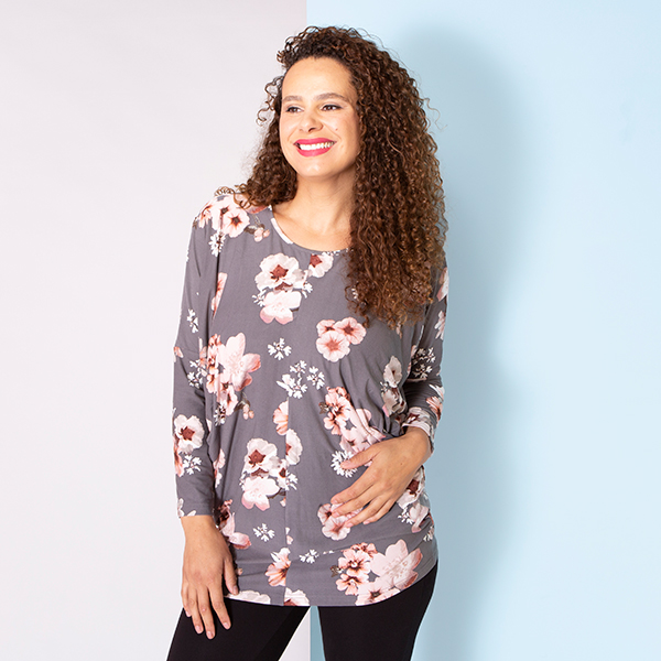 Emelia Velvet Touch Pocket  Tunic Grey Blossom