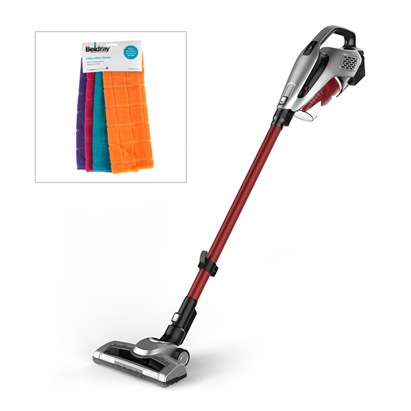 Beldray Airpower 2 in 1 Brushless Motor Cordless Vacuum with Accessories and Microfibre Cloths No Colour