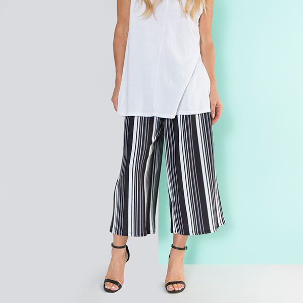 Nouvelle Stripe Culotte Trouser Black/White