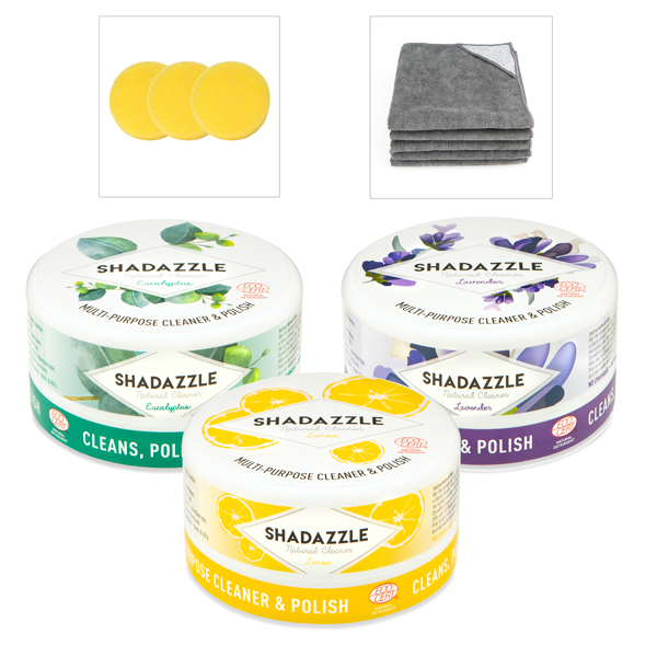 Shadazzle Natural Cleaner and Polish (3 Pack) with Extra Applicators and Microfibre Cloths Mixed