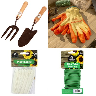 Gardeners Essentials Bundle - Gloves, Trowel, Fork, Labels, & Twine
