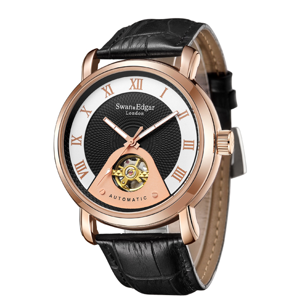 Swan & Edgar Gent's Time Guarder Automatic Shielded Watch, Genuine Leather Strap Black/Rose Gold