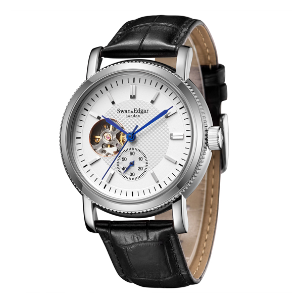 Swan & Edgar Gent's The Big Wheel Automatic Open Heart Watch with Genuine Leather Strap Black/Silver