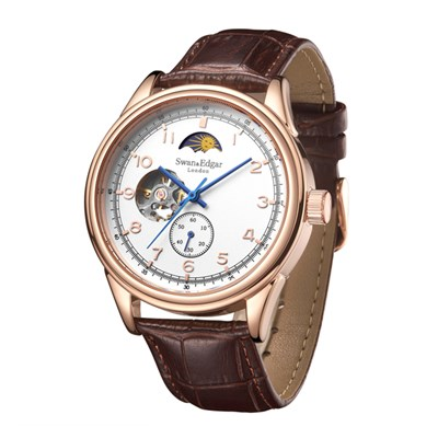 Swan & Edgar Gent's Orbiter Automatic Moon Phase Watch with Genuine Leather Strap & Wallet
